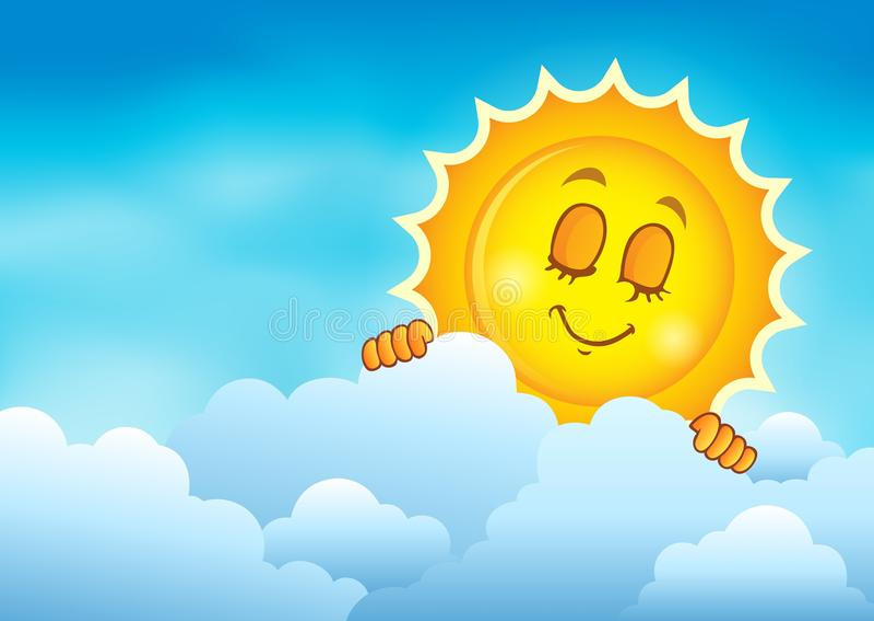 Molnig himmel med att lura sol 4 vektor illustrationer