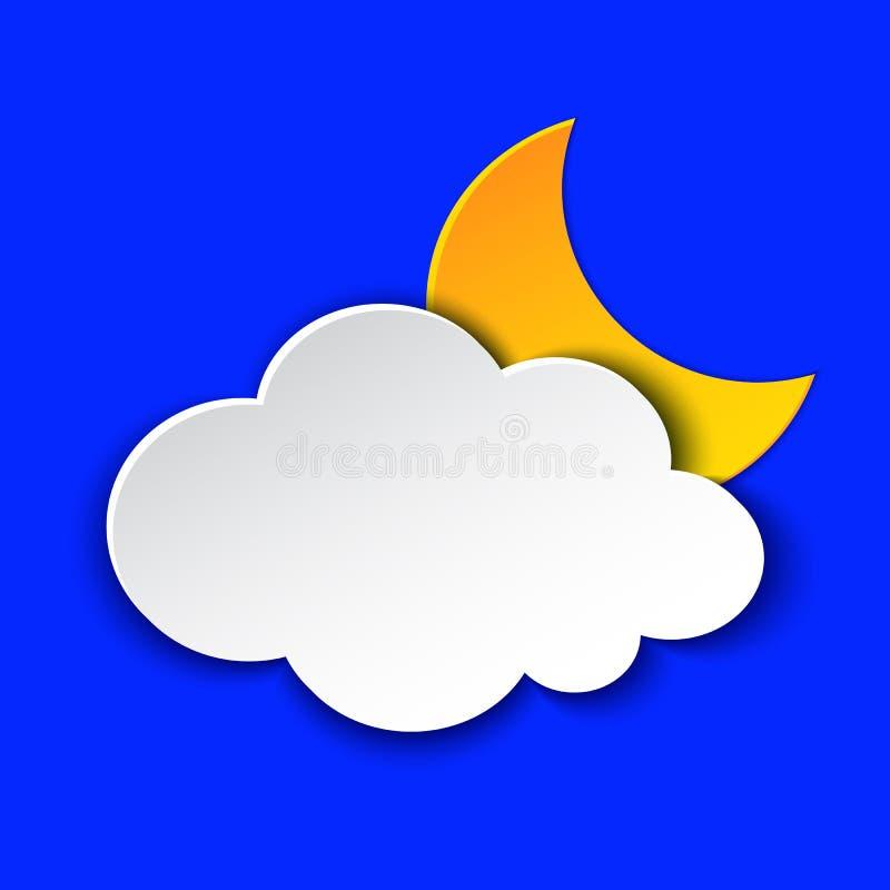 Molnig symbol för information om nattväderprognos Moln- och månesymbolpapper klippte stil på blått Klimatväderbeståndsdel moderik stock illustrationer