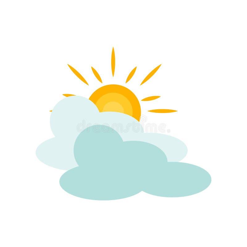 Molnig symbolsvektor som isoleras på vit bakgrund, molnigt tecken, vädersymboler vektor illustrationer