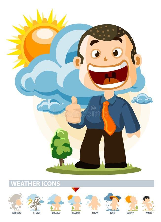 molnigt symbolsväder stock illustrationer