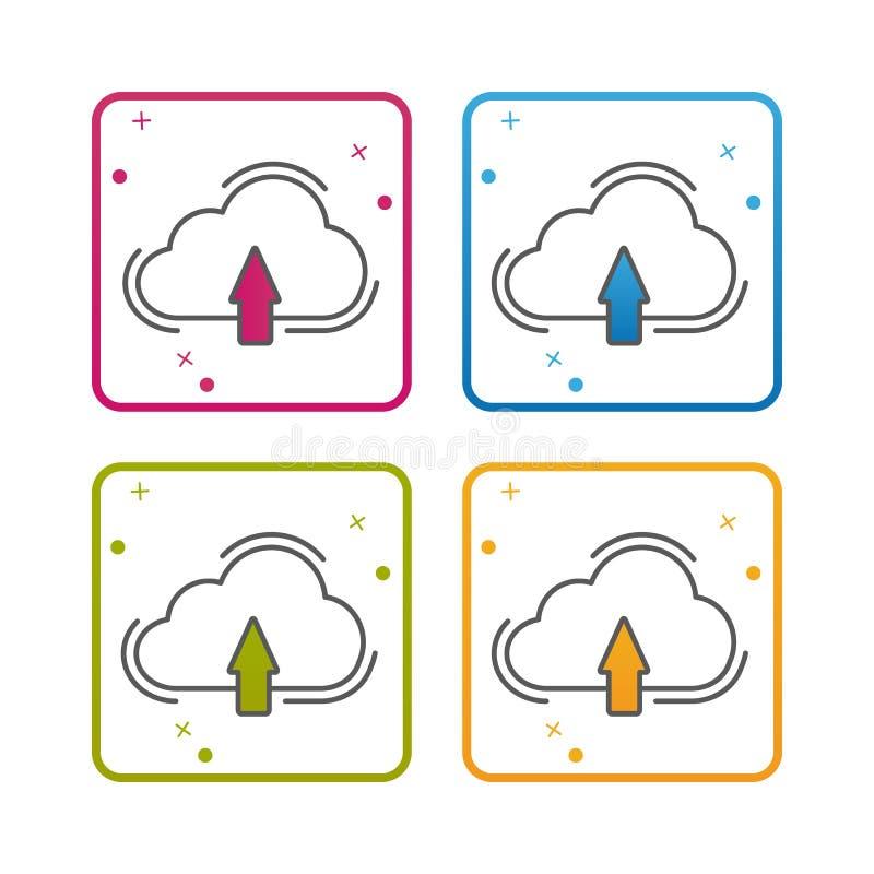Molnlagring - översikt utformade symbolen - redigerbar slaglängd - färgrik vektorillustration - som isoleras på vit bakgrund stock illustrationer
