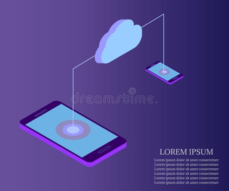 Molnlagring, smartphone till minnestavlan royaltyfri illustrationer