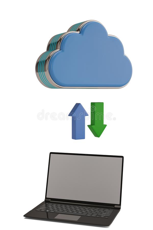 Molnlagringsbegreppet fördunklar symbol och bärbara datorn på den vita backgrouen royaltyfri illustrationer