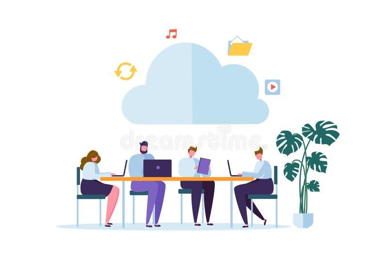 Molnlagringsteknologi Man och kvinna som arbetar dela tillsammans för informationsöverföring om data mappar royaltyfri illustrationer