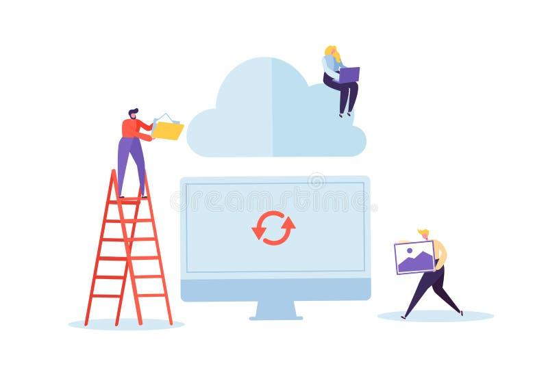 Molnlagringsteknologi Man och kvinna som arbetar dela tillsammans för informationsöverföring om data mappar stock illustrationer