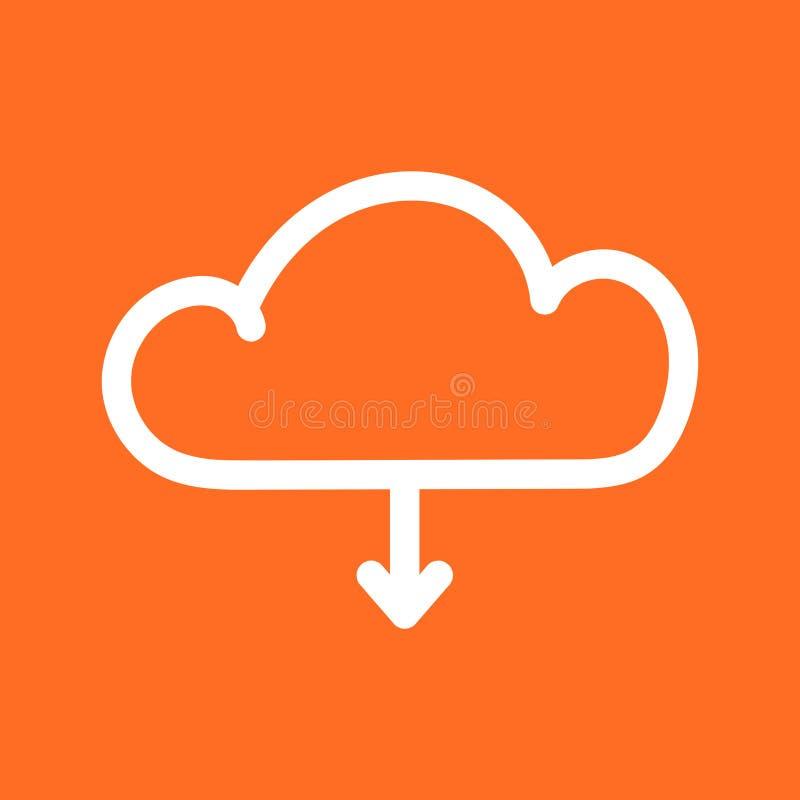 Molnlinje symbol Internetnedladdningsymbol Plan vektorillustrat royaltyfri illustrationer