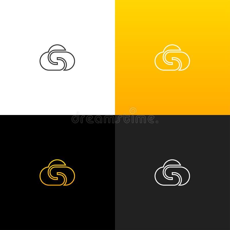 Molnlogo med bokstav s Linjär logo av bokstaven s för företag och märken med en gul lutning royaltyfri illustrationer