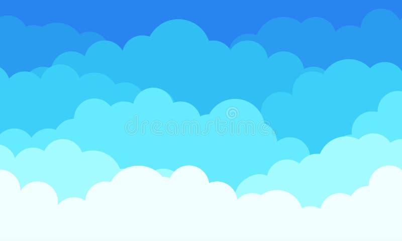 Molnmodellbakgrund, plana vita moln i blå himmel Abstrakt plan grafisk cloudscape för vektor och väderbakgrund vektor illustrationer