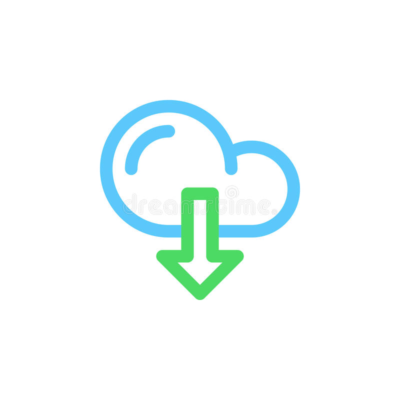 Molnnedladdninglinje symbol, översiktsvektortecken, linjär färgrik pictogram som isoleras på vit stock illustrationer