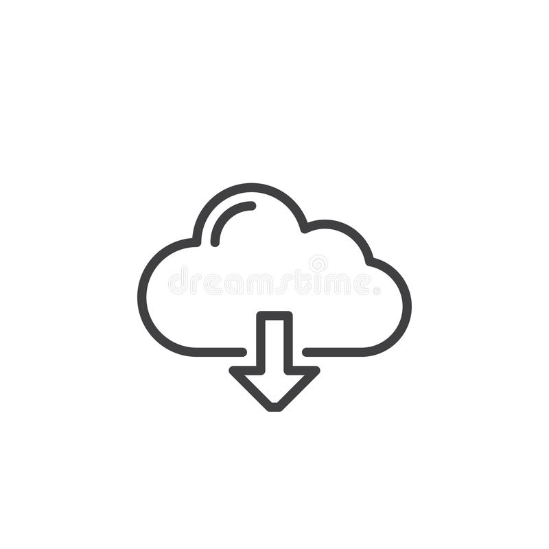 Molnnedladdninglinje symbol, översiktsvektortecken, linjär stilpictogram som isoleras på vit vektor illustrationer