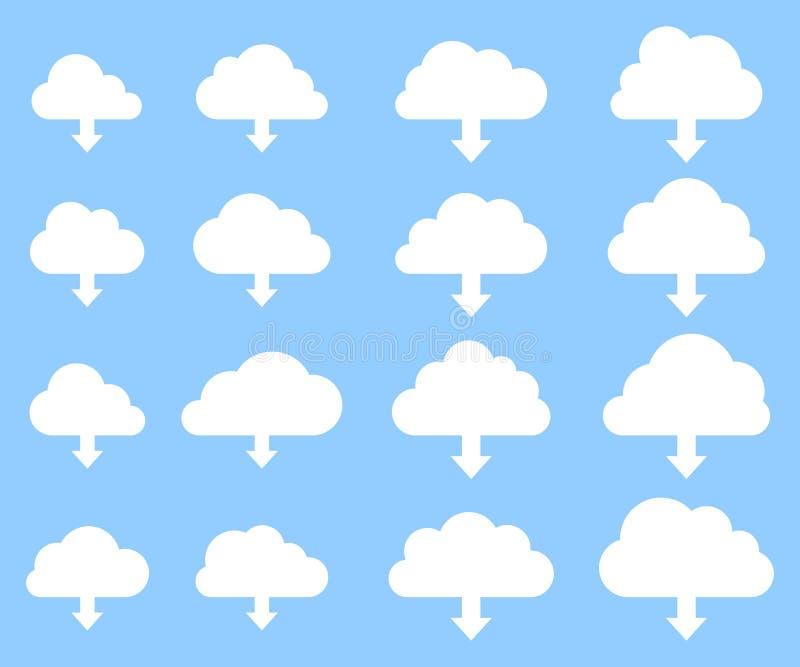 Molnnedladdningsamling på blå bakgrund vektor illustrationer