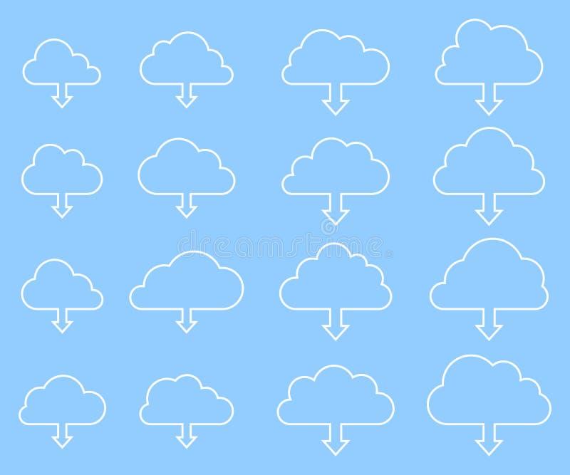 Molnnedladdningsamling på blå bakgrund stock illustrationer