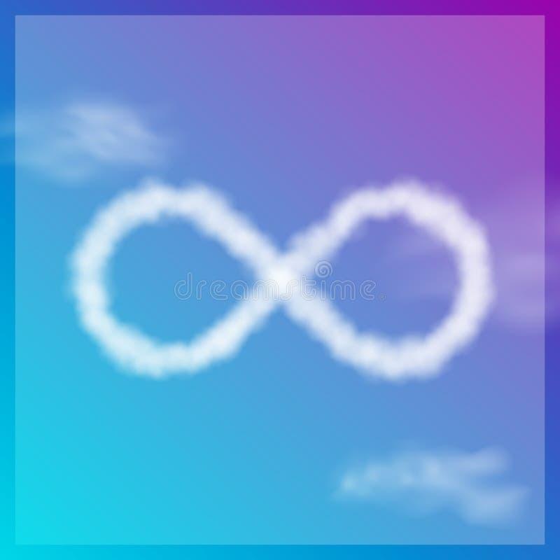 Molnoändlighetssymbol på blå himmel gears symbolen vektor illustrationer