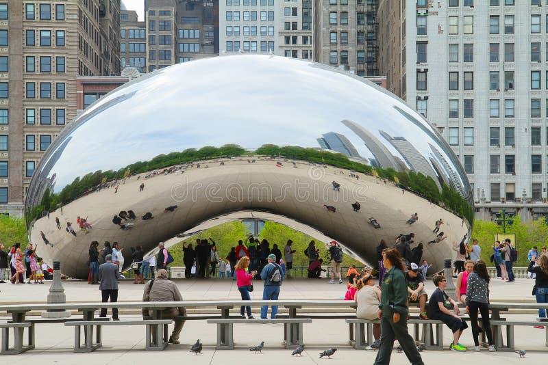 Molnport bönan i Chicago royaltyfri bild