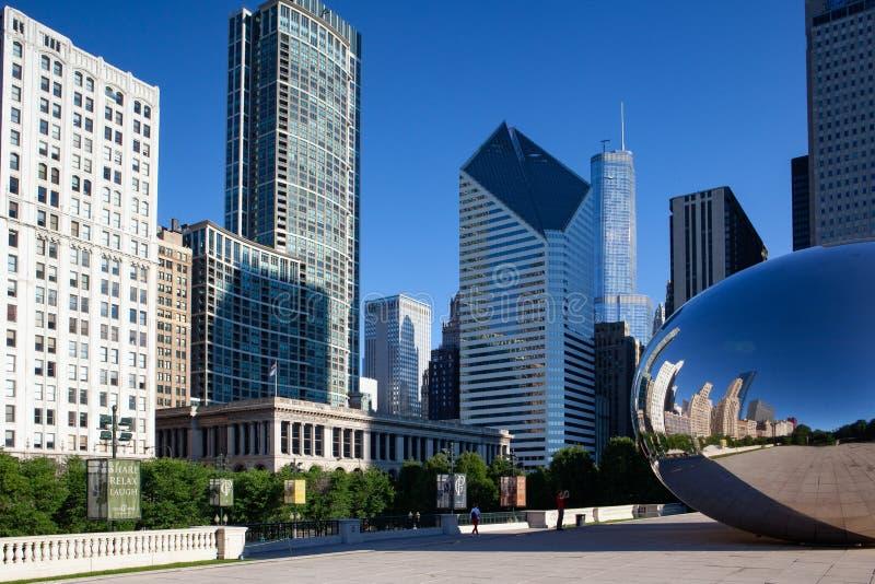 Molnport, den ber?mda offentliga skulpturen, Chicago, USA royaltyfri bild
