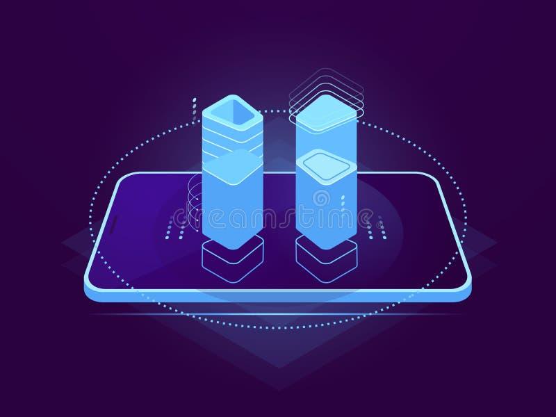 Molnserver som är värd, mobil manöverenhet, holographic kontrollmoment, molnlagring, lager för avlägsen mapp för databas royaltyfri illustrationer