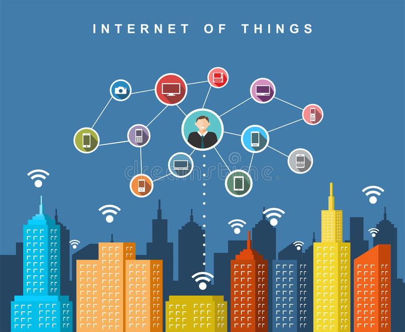 Molnservice Smart stadsteknologibegrepp stock illustrationer