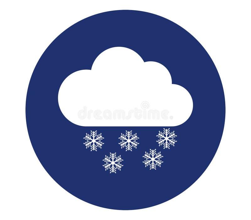 Molnsymbol med snö vektor illustrationer
