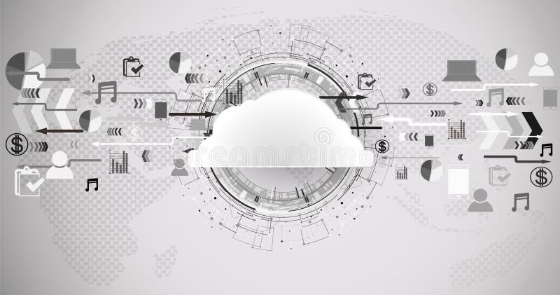 Molnteknologibakgrund stock illustrationer