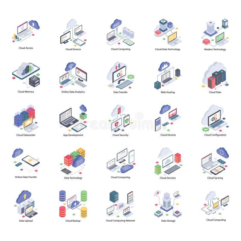 Molnteknologisymboler packar vektor illustrationer