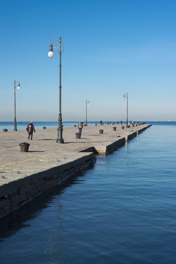 Molo Audace在的里雅斯特,意大利 免版税库存照片