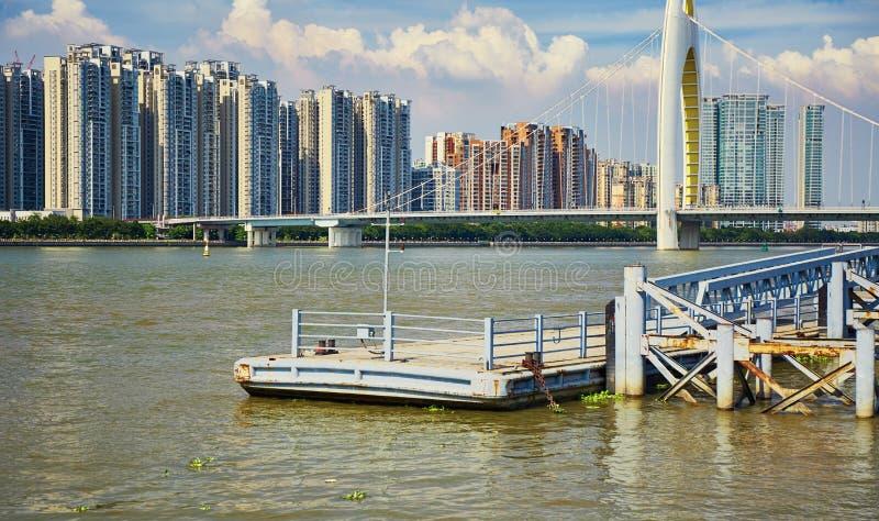Molo del fiume, banchina in Canton Cina fotografia stock libera da diritti