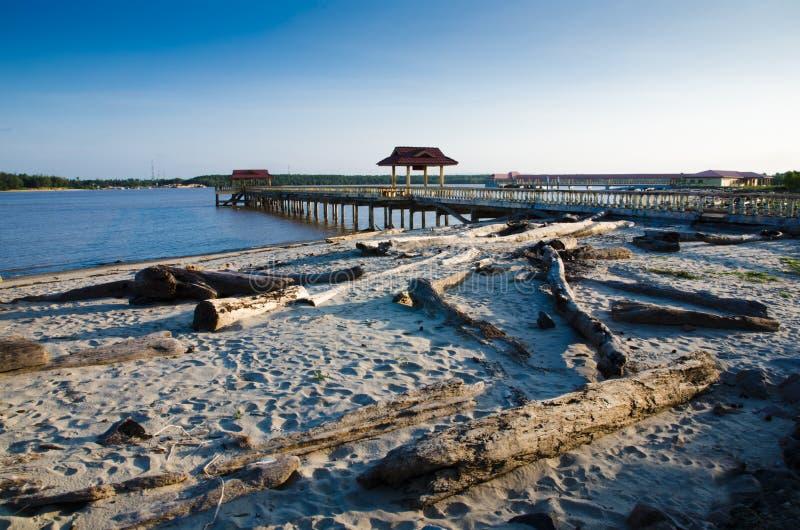 Molo della spiaggia di Bernas immagini stock libere da diritti