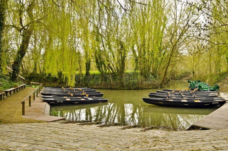 Molo di Flatboat a Venezia verde di Marais Poitevin fotografia stock libera da diritti