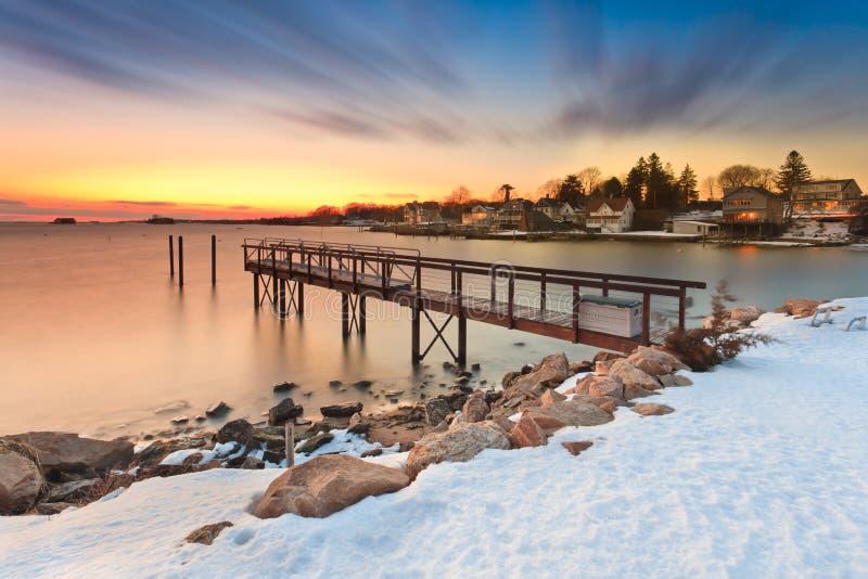 Molo durante l'inverno immagini stock