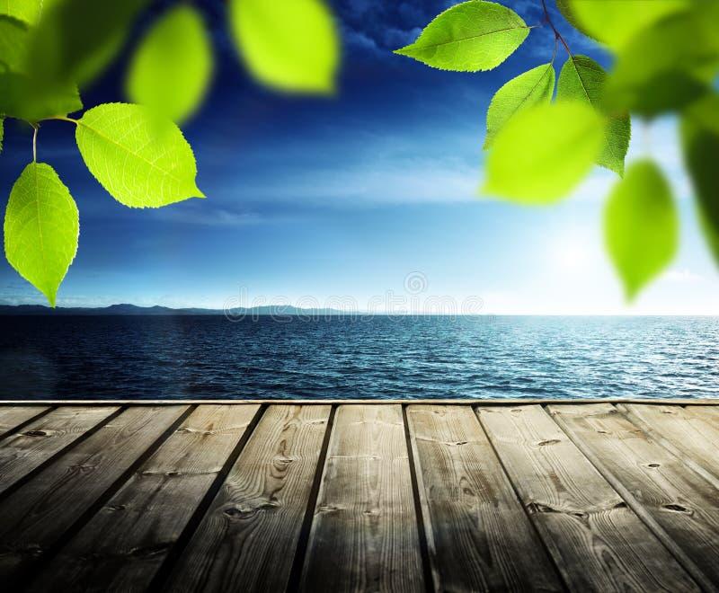 Molo, morze i liście, zdjęcie stock