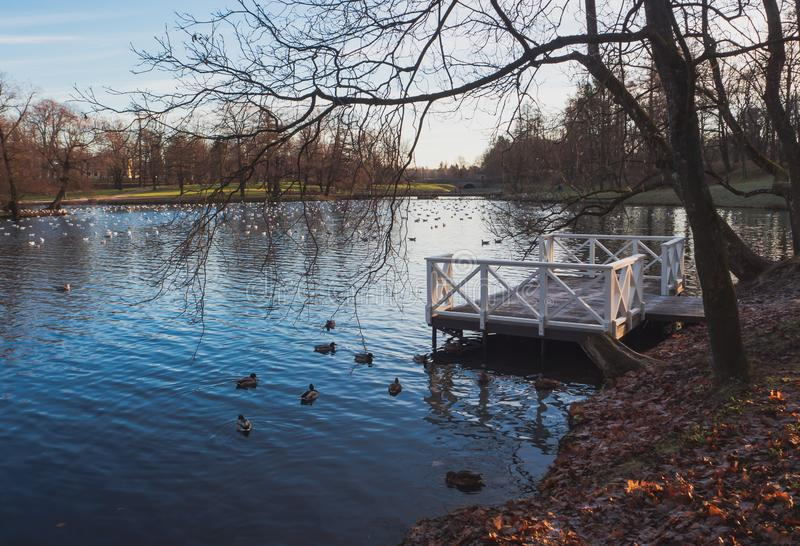 Molo na jesieni jeziorze Pokój jeziorem obrazy stock