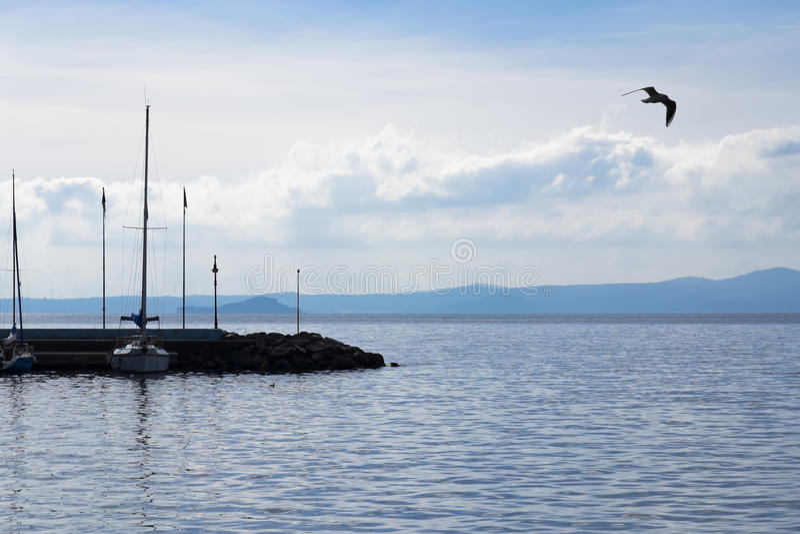 Molo na Jeziornym Bolsena fotografia stock