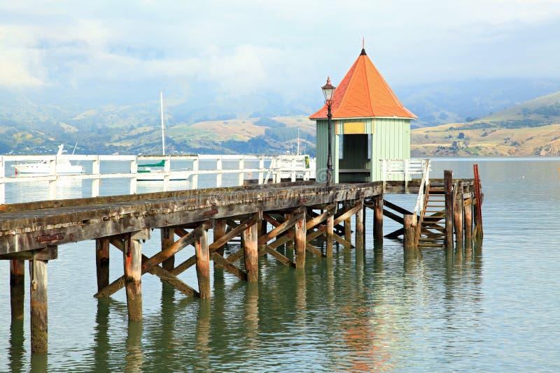 Molo Nuova Zelanda di Akaroa fotografie stock