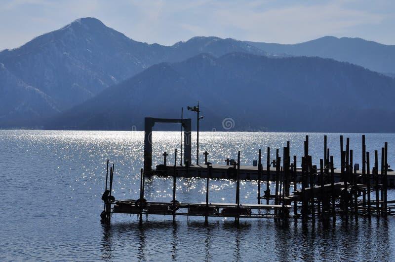 Molo przy jeziornym Chuzenji blisko do Nikko, Japonia. obraz royalty free