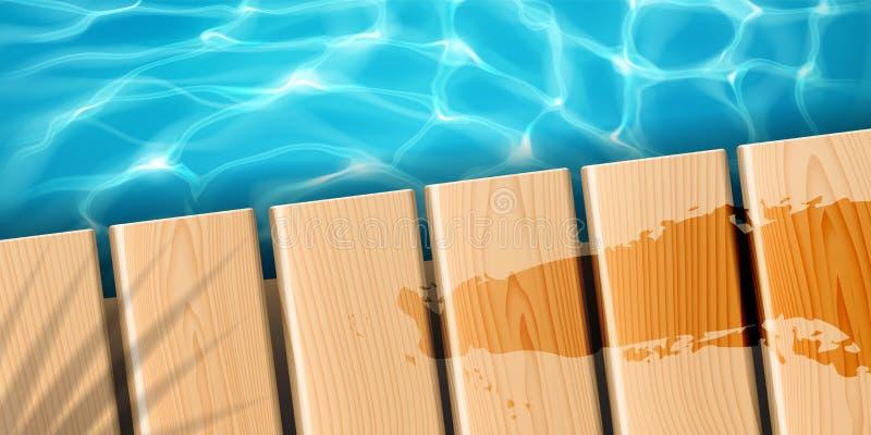 Molo z drewnianymi deskami przy oceanem lub morzem royalty ilustracja