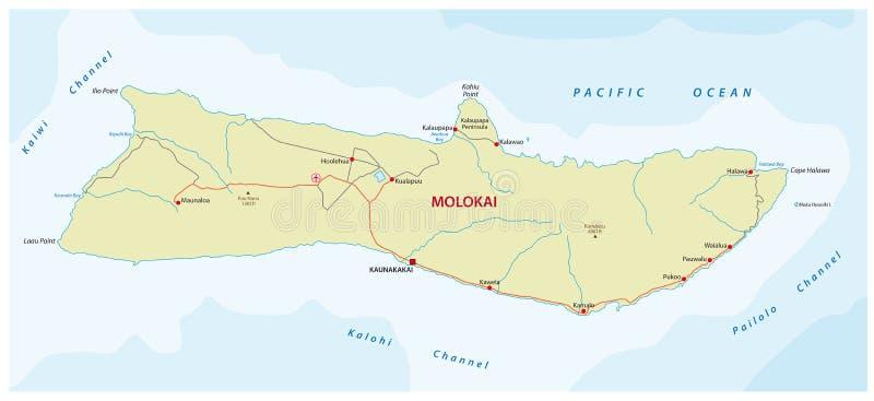 Molokai färdplan royaltyfri illustrationer