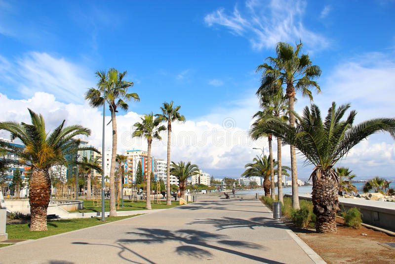 Molos-Promenade in Limassol, Zypern lizenzfreies stockbild