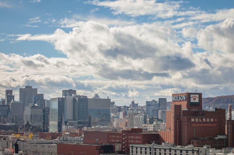 Molson-Brauerei im Industriehafen von Montreal, Quebec, mit den Skylinen und dem Mittelgeschäftsgebiet stockbild