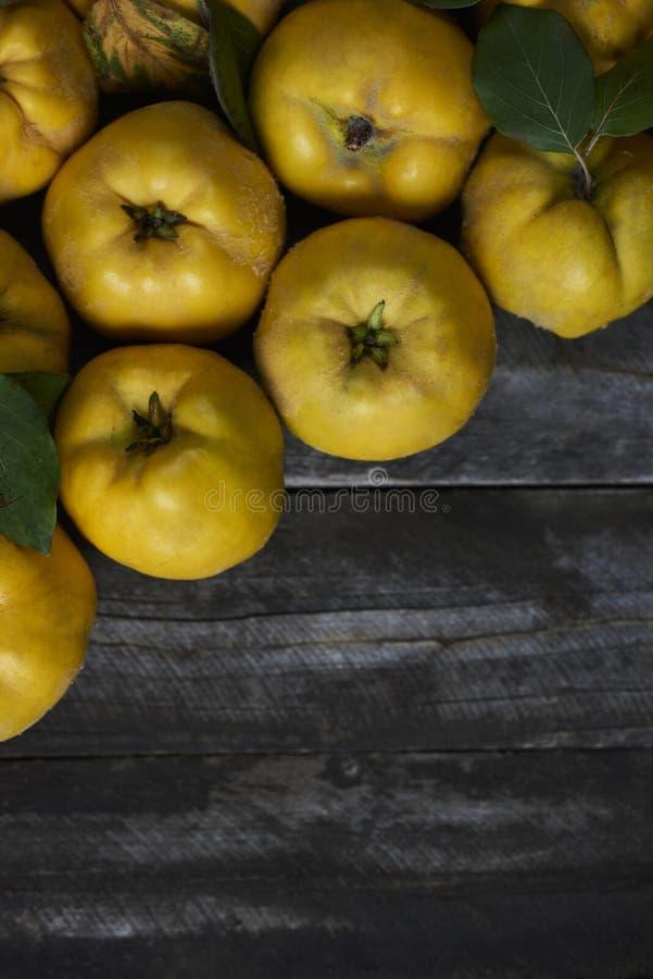 Molta cotogna della mela su fondo di legno scuro Vista superiore fotografia stock libera da diritti