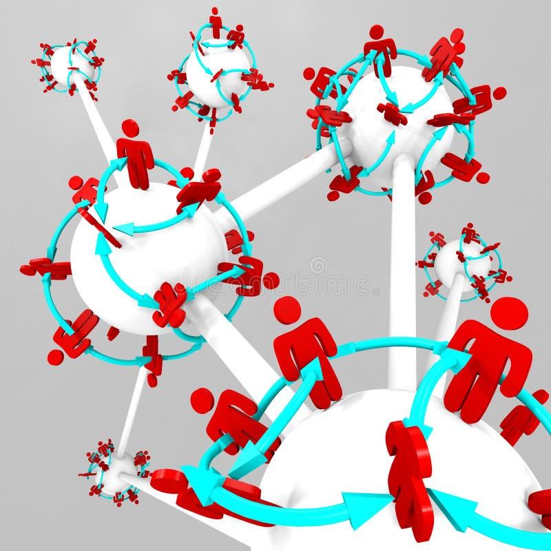 Molta gente connessa sui mondi collegati illustrazione vettoriale