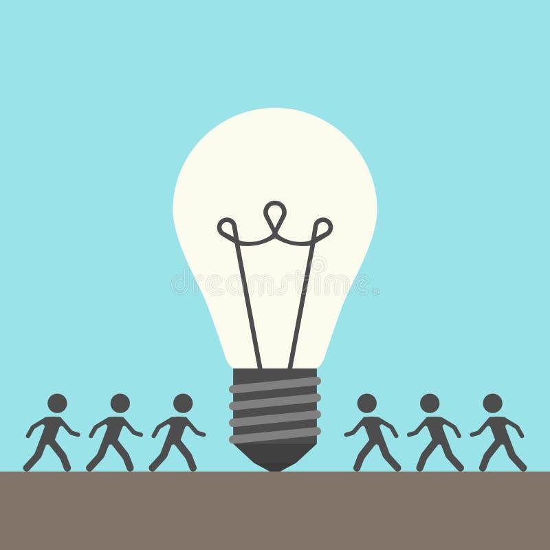 Molta gente e lampadina illustrazione di stock
