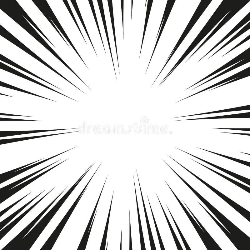 Molta velocità radiale comica nera allinea sulla base bianca Illustrazione di esplosione di potere di effetto Elemento di progett illustrazione di stock