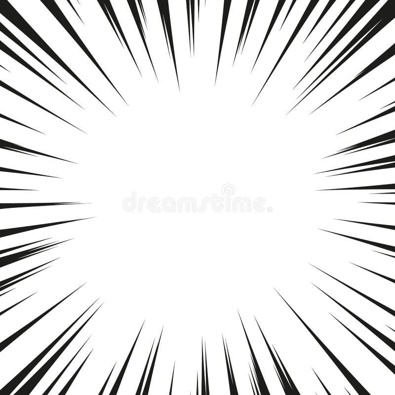 Molta velocità radiale comica nera allinea sulla base bianca Illustrazione di esplosione di potere di effetto Elemento di progett illustrazione vettoriale