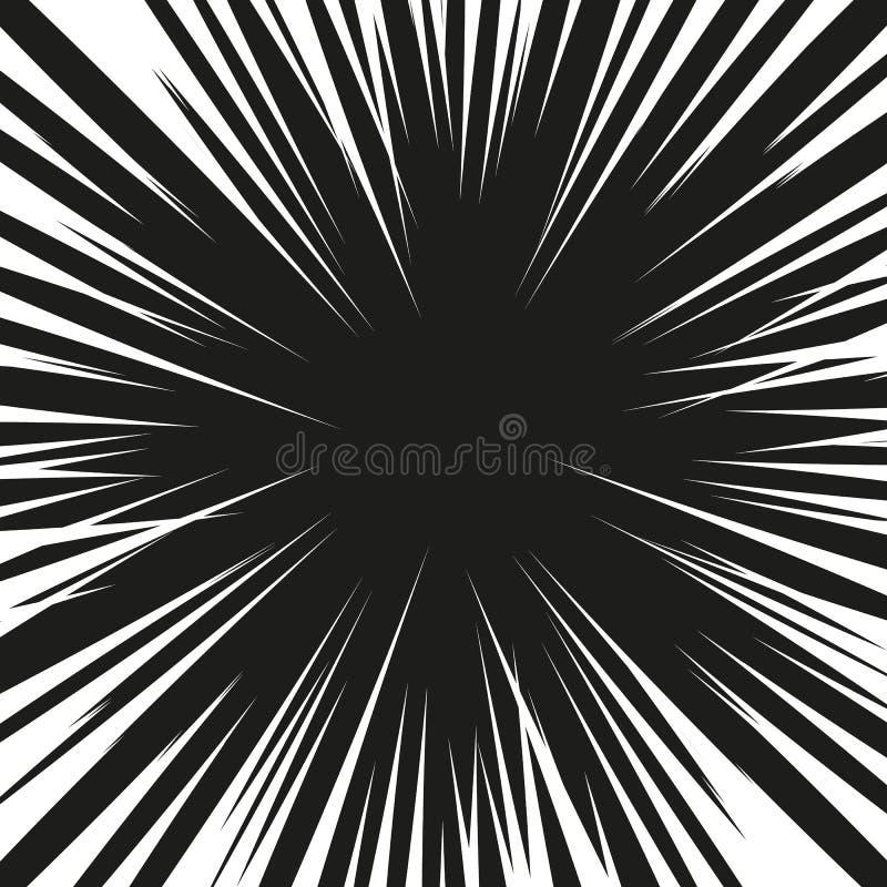 Molta velocità radiale comica nera allinea sulla base bianca Illustrazione di esplosione di potere di effetto Elemento di progett royalty illustrazione gratis