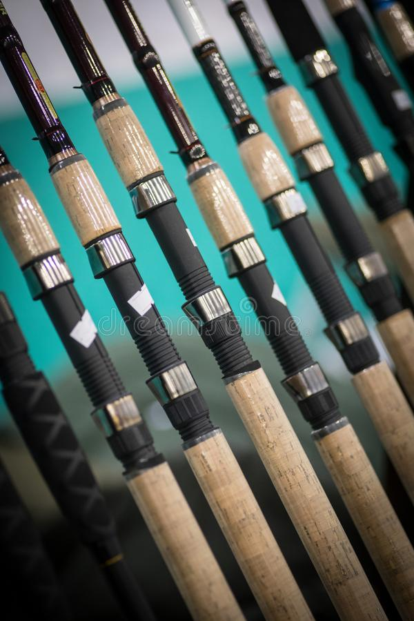 Molte canne da pesca fotografie stock libere da diritti