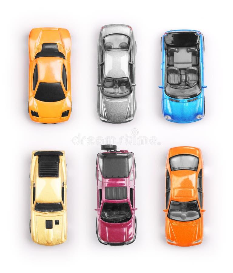 Molte di automobili colorate multi del giocattolo fotografia stock libera da diritti