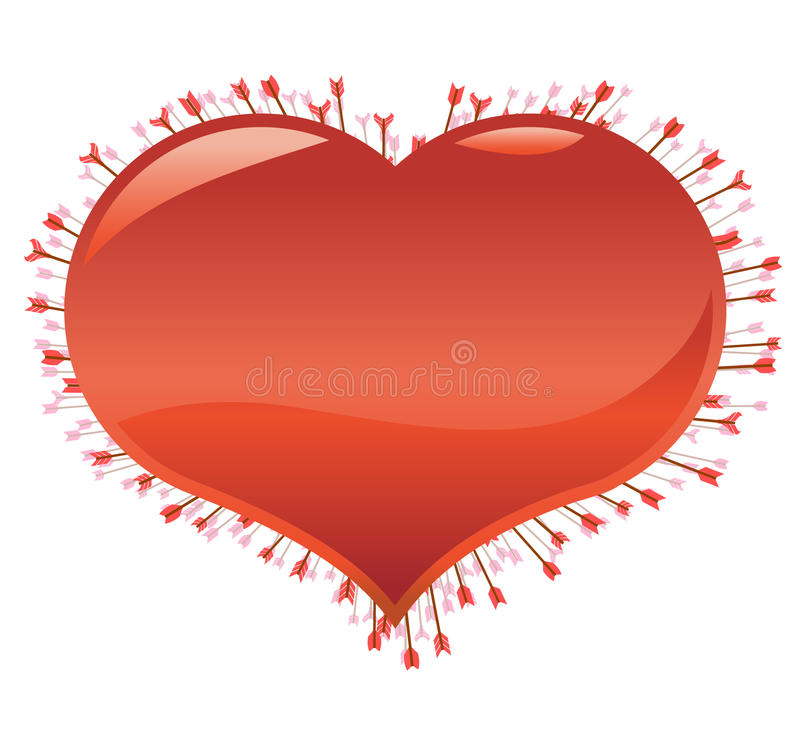 Molte frecce colpite al cuore illustrazione vettoriale