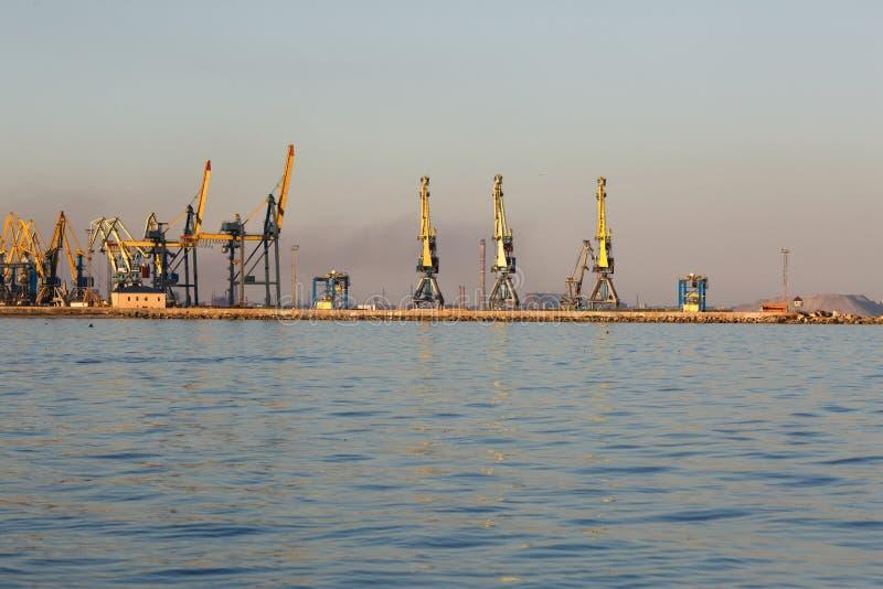 Molte grandi gru profilano nel porto marittimo di Azov a luce dorata del tramonto mariupol fotografia stock