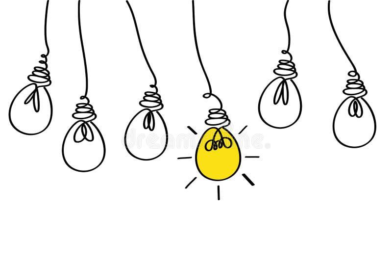 Molte lampade che appendono da sopra Concetto dell'icona delle lampadine dell'idea illustrazione vettoriale