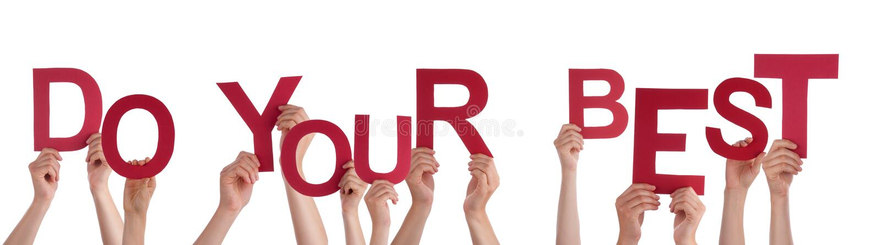 Molte mani della gente che tengono la parola rossa fanno il vostro meglio fotografie stock libere da diritti